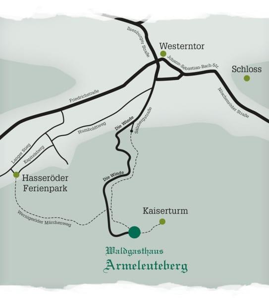 Anfahrtskizze Armeleuteberg, Wernigerode