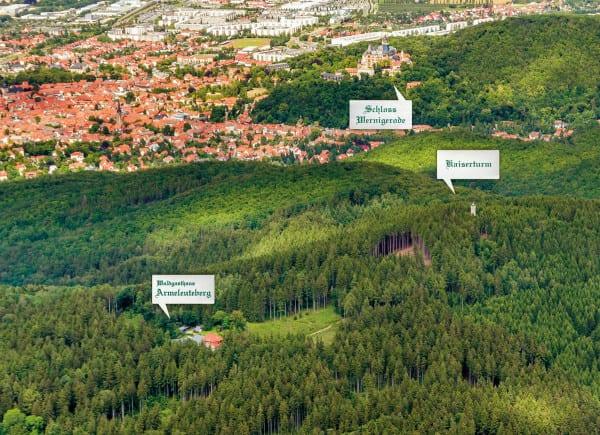 Luftbild Armeleuteberg mit Kaiserturm und Schloss Wernigerode